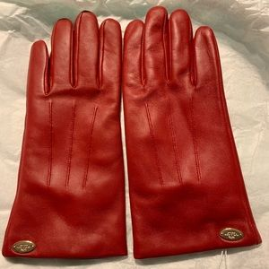 Coach Red Merino Wool Lined Leather Gloves NWT
